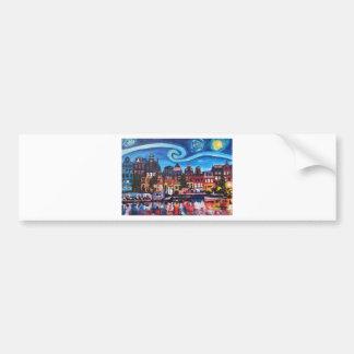 Starry Night over Amsterdam Canal Bumper Sticker
