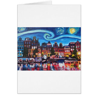 Starry Night over Amsterdam Canal Card