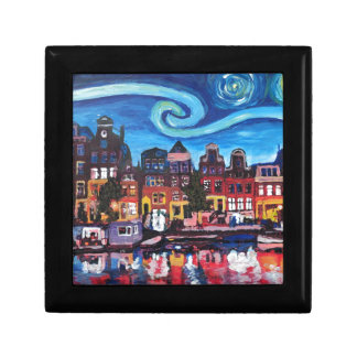 Starry Night over Amsterdam Canal Gift Box