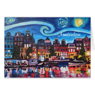 Starry Night over Amsterdam Canal II Card