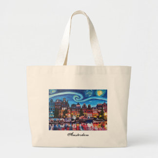 Starry Night over Amsterdam Canal II Large Tote Bag