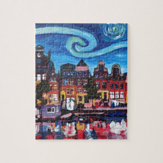 Starry Night over Amsterdam Canal Jigsaw Puzzle