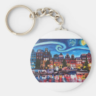 Starry Night over Amsterdam Canal Keychain