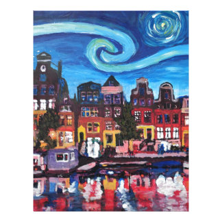 Starry Night over Amsterdam Canal Letterhead
