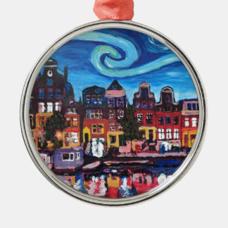 Starry Night over Amsterdam Canal Metal Ornament