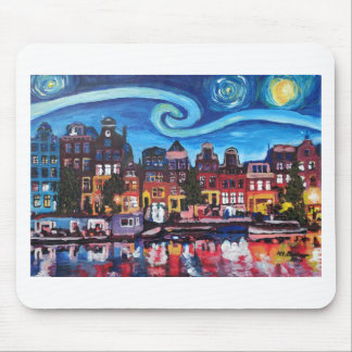 Starry Night over Amsterdam Canal Mouse Pad