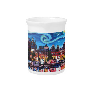 Starry Night over Amsterdam Canal Pitcher