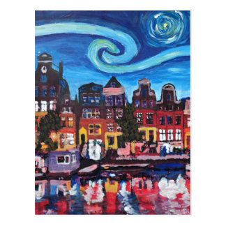 Starry Night over Amsterdam Canal Postcard
