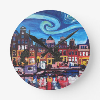 Starry Night over Amsterdam Canal Round Clock