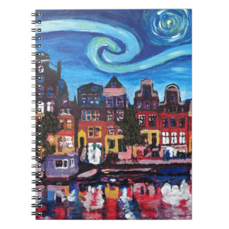 Starry Night over Amsterdam Canal Spiral Notebook