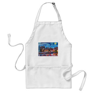 Starry Night over Amsterdam Canal Standard Apron