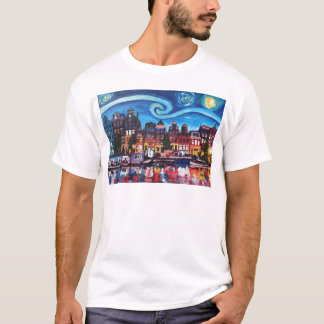 Starry Night over Amsterdam Canal T-Shirt