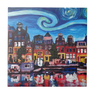 Starry Night over Amsterdam Canal Tile