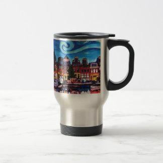 Starry Night over Amsterdam Canal Travel Mug