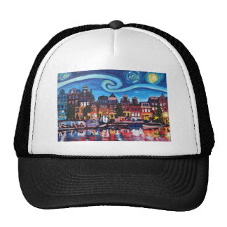 Starry Night over Amsterdam Canal Trucker Hat