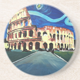 Starry Night over Colloseum in Rome Italy Beverage Coasters