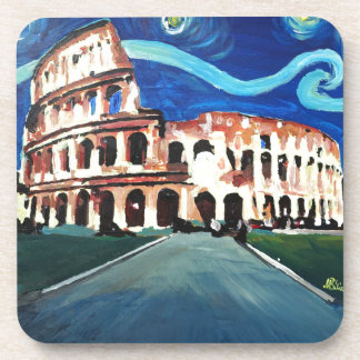 Starry Night over Colloseum in Rome Italy Drink Coasters