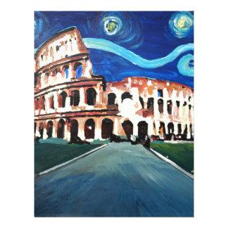 Starry Night over Colloseum in Rome Italy Letterhead