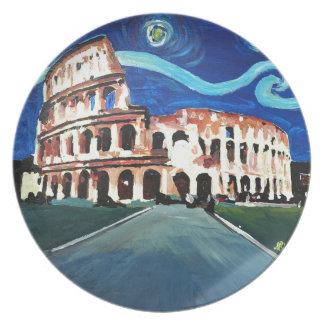Starry Night over Colloseum in Rome Italy Plate