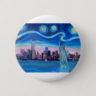 Starry Night over Manhattan with Statue of Liberty 2 Inch Round Button