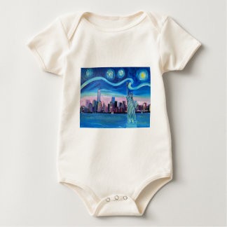 Starry Night over Manhattan with Statue of Liberty Baby Bodysuit