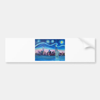 Starry Night over Manhattan with Statue of Liberty Bumper Sticker