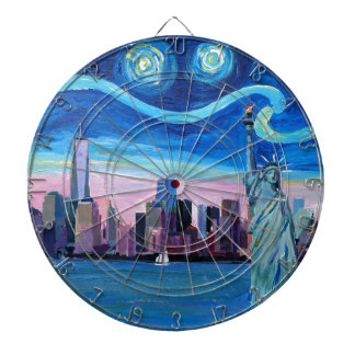 Starry Night over Manhattan with Statue of Liberty Dartboard With Darts