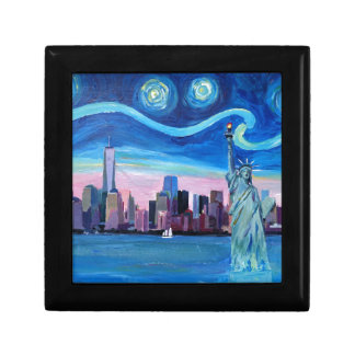 Starry Night over Manhattan with Statue of Liberty Gift Box