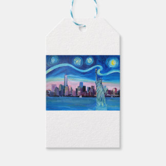 Starry Night over Manhattan with Statue of Liberty Gift Tags