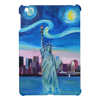 Starry Night over Manhattan with Statue of Liberty iPad Mini Cases