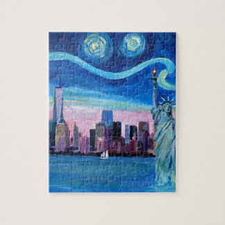 Starry Night over Manhattan with Statue of Liberty Jigsaw Puzzle