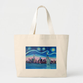 Starry Night over Manhattan with Statue of Liberty Large Tote Bag