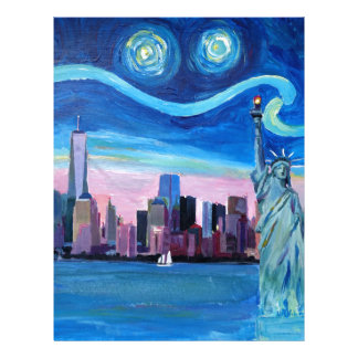 Starry Night over Manhattan with Statue of Liberty Letterhead