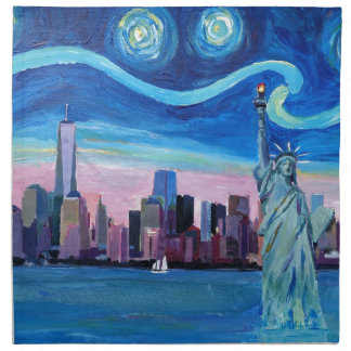 Starry Night over Manhattan with Statue of Liberty Napkin