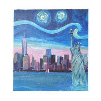 Starry Night over Manhattan with Statue of Liberty Notepad