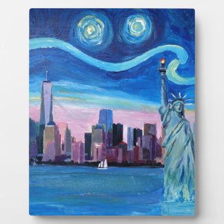 Starry Night over Manhattan with Statue of Liberty Plaque