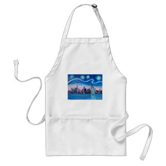 Starry Night over Manhattan with Statue of Liberty Standard Apron