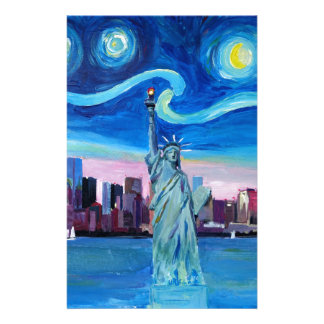 Starry Night over Manhattan with Statue of Liberty Stationery