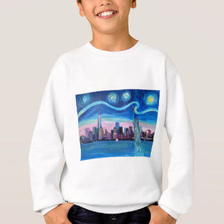 Starry Night over Manhattan with Statue of Liberty Sweatshirt