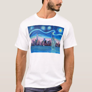 Starry Night over Manhattan with Statue of Liberty T-Shirt