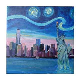 Starry Night over Manhattan with Statue of Liberty Tile