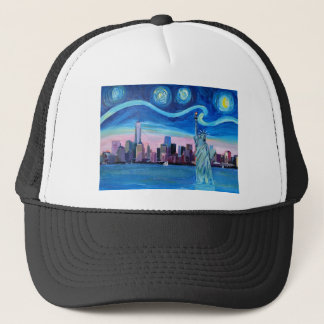 Starry Night over Manhattan with Statue of Liberty Trucker Hat
