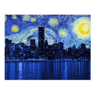 Starry Night Over New York City Postcard
