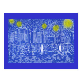 Starry Night Over New York...Who Is John Galt? Postcard