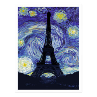 Starry Night Over Paris Postcard