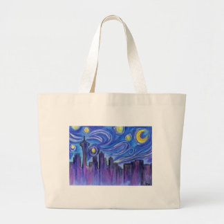 Starry Night Over Seattle Large Tote Bag