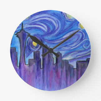 Starry Night Over Seattle Wall Clocks
