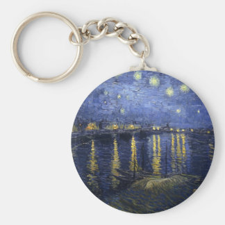 Starry Night Over the Rhone Basic Round Button Keychain