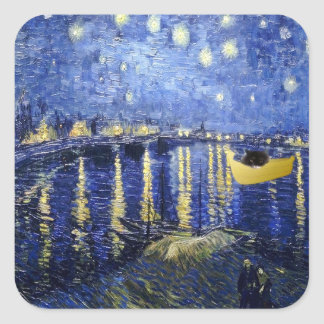 Starry night over the Rhone cat sticker