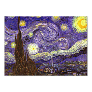 """Starry Night painting by artist Vincent Van Gogh 5"""" X 7"""" Invitation Card"""